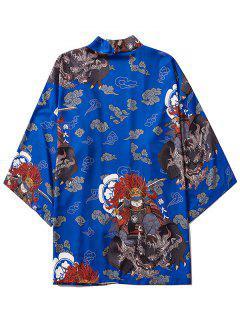 Open Front Samurai Cat Graphic Kimono Cardigan - Cobalt Blue M