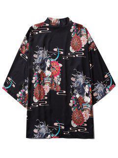 Open Front Floral Geisha Samurai Print Kimono Cardigan - Black L