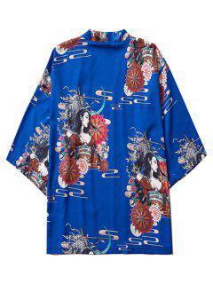 Open Front Floral Geisha Samurai Print Kimono Cardigan - Cobalt Blue L