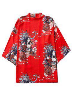 Open Front Floral Geisha Samurai Print Kimono Cardigan - Red M