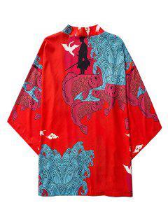 Koi Fish Waves Samurai Open Front Kimono Cardigan - Ruby Red L