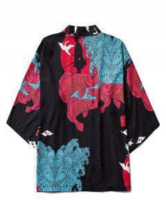 Koi Fish Waves Samurai Open Front Kimono Cardigan - Black 2xl