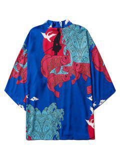 Koi Fish Waves Samurai Open Front Kimono Cardigan - Blueberry Blue M