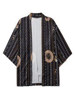 Cardigan Kimono Ouvert En Avant Géométrique Horloge Imprimée - Noir 2xl