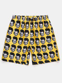 Figure Head Pattern Elastic Waist Shorts - Sun Yellow M