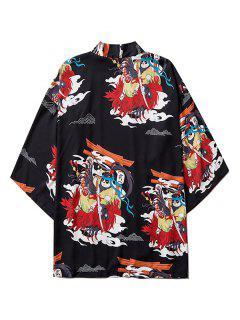 Open Front Panda Samurai Graphic Kimono Cardigan - Black L