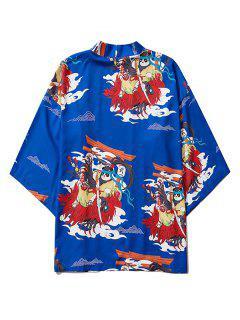 Open Front Panda Samurai Graphic Kimono Cardigan - Cobalt Blue M