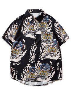 Geisha Samurai Tiger Print Vacation Shirt - Black M
