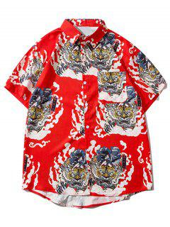 Geisha Samurai Tiger Print Vacation Shirt - Ruby Red L