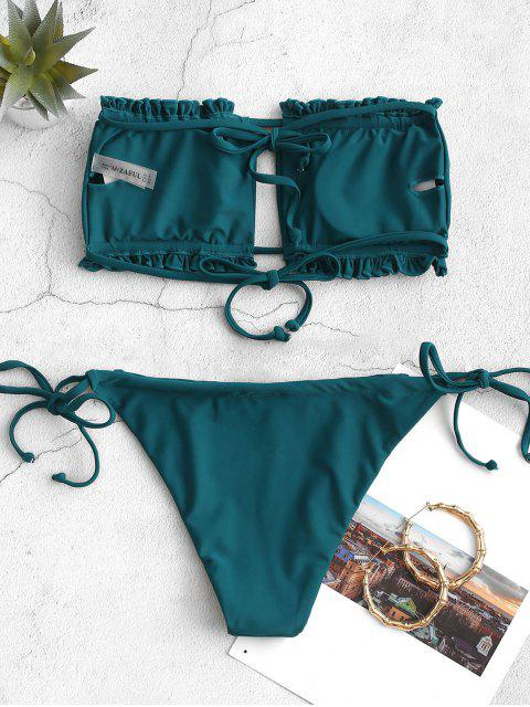 chic ZAFUL Ruffle Tie Side Low Waisted Bandeau Bikini Swimsuit - PEACOCK BLUE S Mobile