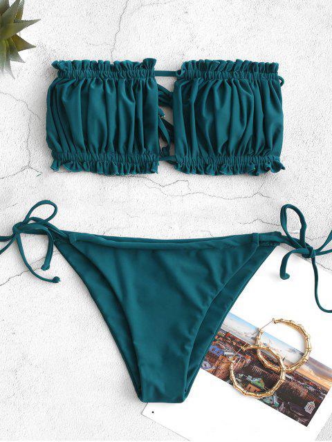 outfit ZAFUL Ruffle Tie Side Low Waisted Bandeau Bikini Swimsuit - PEACOCK BLUE M Mobile