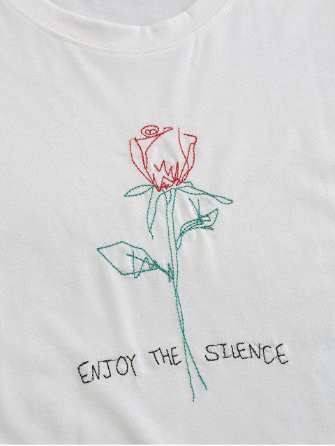 ZAFUL T-shirt Motif de Rose Brodée à Manches Courtes - Blanc S Mobile