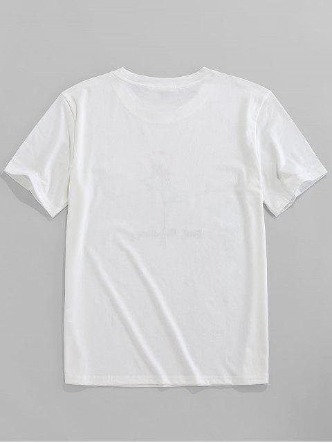 ZAFUL T-shirt de Manga Curta com Bordado de Rosa - Branco M Mobile