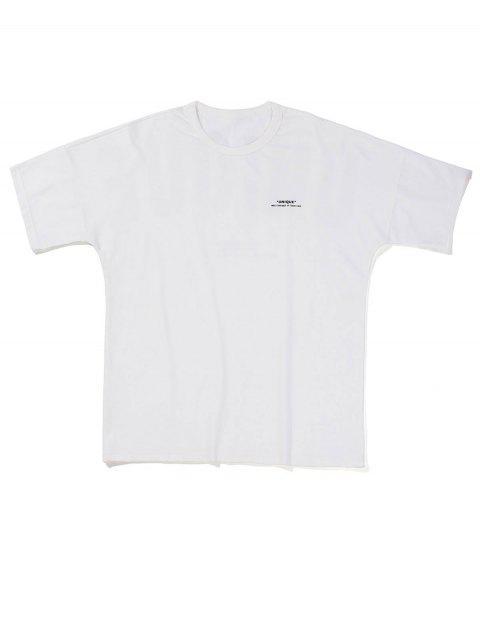 T-Shirt con Grafica di Lettere - Bianca XL Mobile