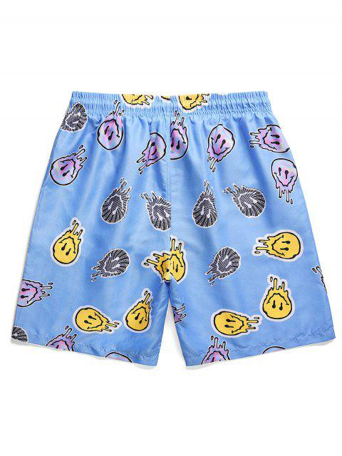affordable Funny Graphic Pattern Vacation Shorts - SKY BLUE 2XL Mobile