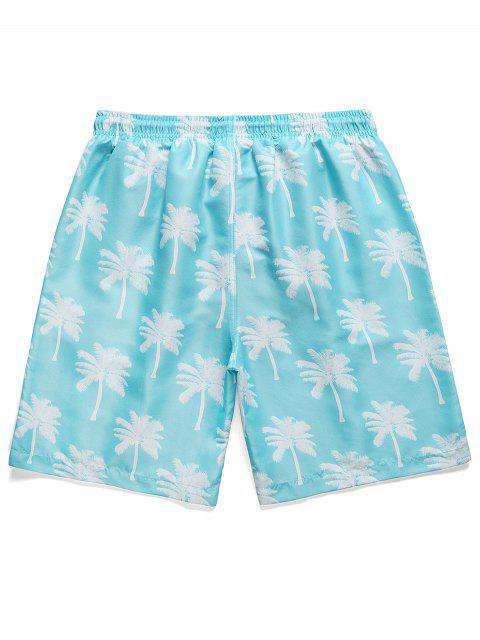 buy Palm Tree Print Board Shorts - SKY BLUE M Mobile