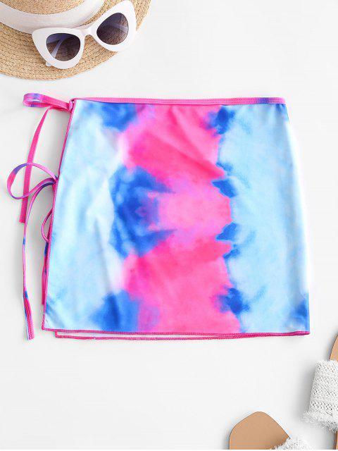 hot ZAFUL Tie Dye Dual Ties Swim Skirt - RED S Mobile