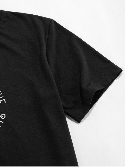 lady ZAFUL Sunflower and Moon Graphic Basic T-shirt - BLACK 2XL Mobile