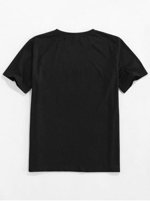 ZAFUL Camiseta Básica con Estampado de Girasol y Luna - Negro 2XL Mobile