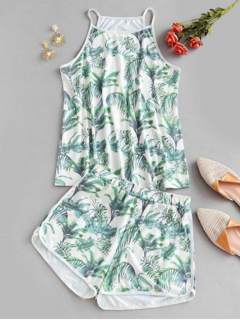 ladies Leaves Print Lounge Two Piece Set - GREEN XL Mobile