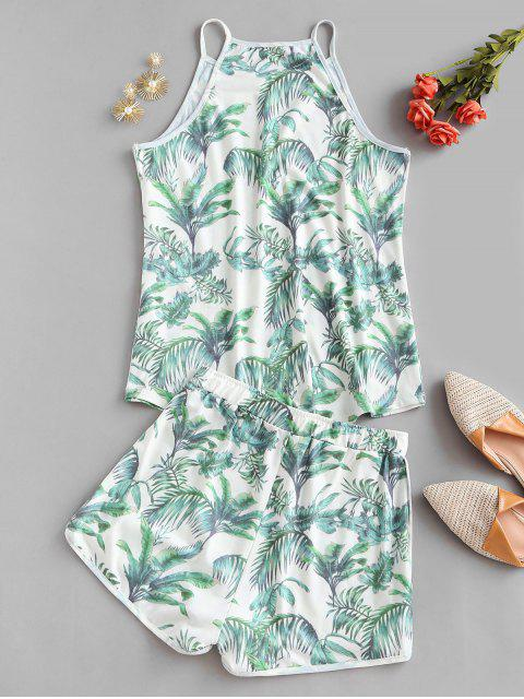 chic Leaves Print Lounge Two Piece Set - GREEN M Mobile