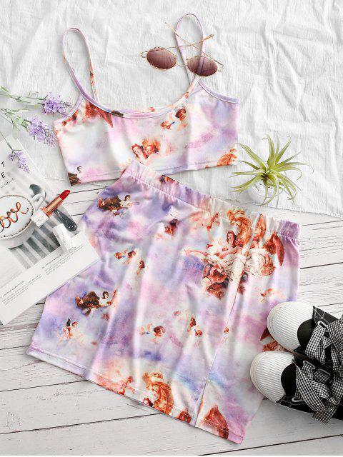 best Tie Dye Angel Print Renaissance Two Piece Dress - LIGHT PURPLE M Mobile
