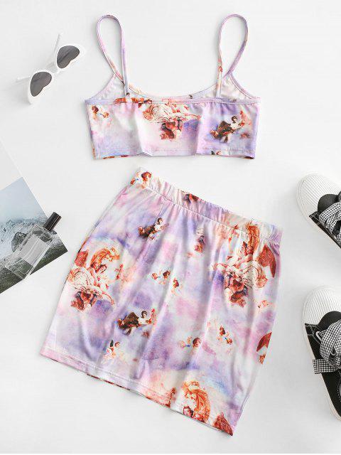 online Tie Dye Angel Print Renaissance Two Piece Dress - LIGHT PURPLE L Mobile