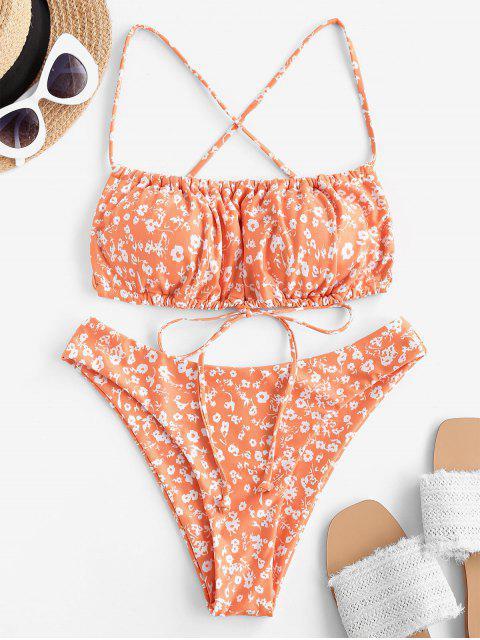 women ZAFUL Plant Print Crisscross High Cut Bikini Swimwear - DARK ORANGE M Mobile