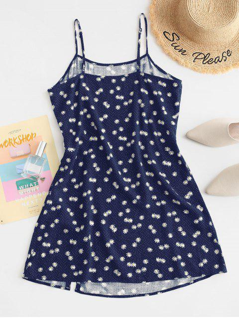 women ZAFUL Daisy Floral Slit Cami Mini Dress - DEEP BLUE S Mobile