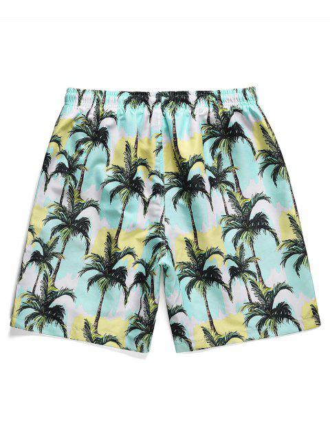 women Coconut Tree Paint Print Board Shorts - SEA BLUE M Mobile