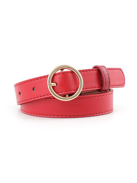 chic PU Round Buckle Belt - RED GOLD Mobile