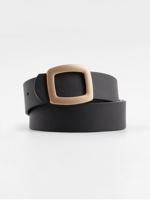 Hollow Square Buckle Wide Belt - أسود  Mobile