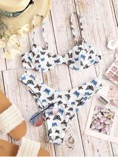 hot ZAFUL Butterfly Print Underwire High Leg Ribbed Bikini Swimwear - BLUE S Mobile