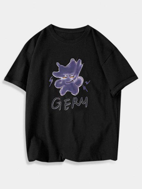 T-Shirt Basic Lunga Grafica - Nero XS Mobile