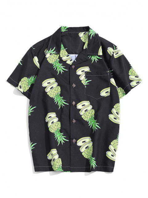 buy Pineapple Pattern Pocket Patch Vacation Shirt - MULTI S Mobile