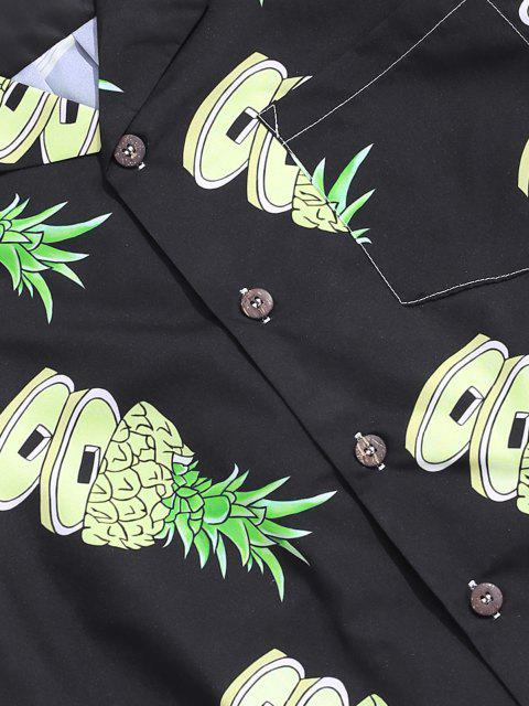 women Pineapple Pattern Pocket Patch Vacation Shirt - MULTI L Mobile