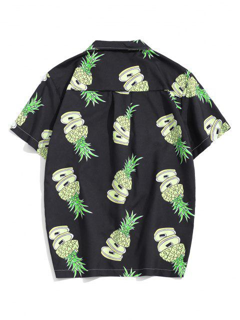 women's Pineapple Pattern Pocket Patch Vacation Shirt - MULTI XL Mobile