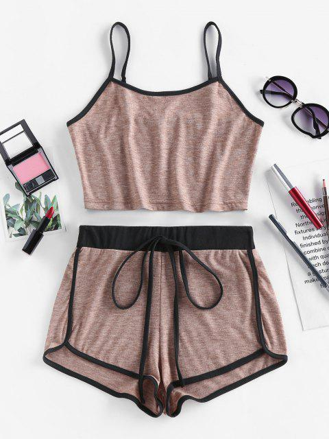 outfit ZAFUL Contrast Trim Camisole And Dolphin Shorts Set - DARK KHAKI M Mobile