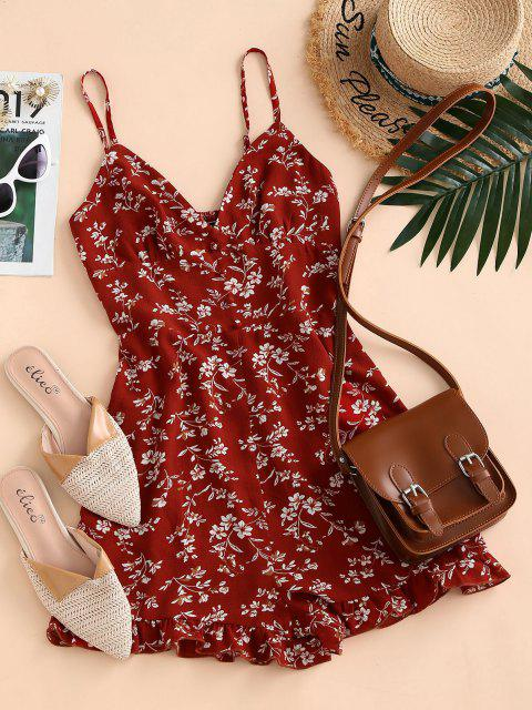 women ZAFUL Floral Ruffle Smocked Wide Leg Cami Romper - RED S Mobile
