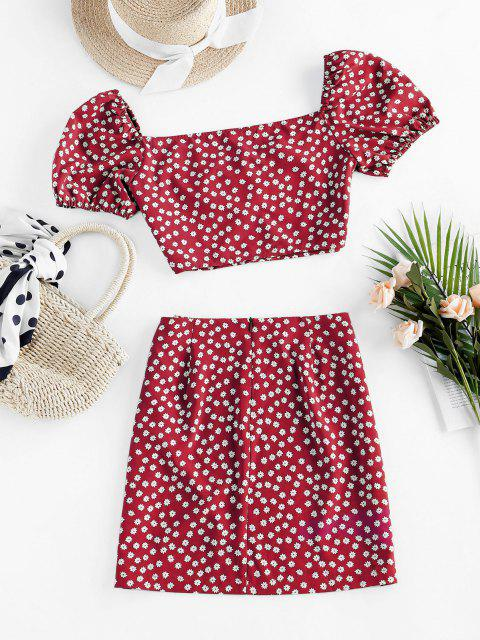 fashion ZAFUL Ditsy Floral Puff Sleeve Ruched Two Piece Set - RED L Mobile