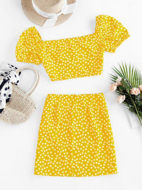 trendy ZAFUL Ditsy Floral Puff Sleeve Ruched Two Piece Set - YELLOW S Mobile