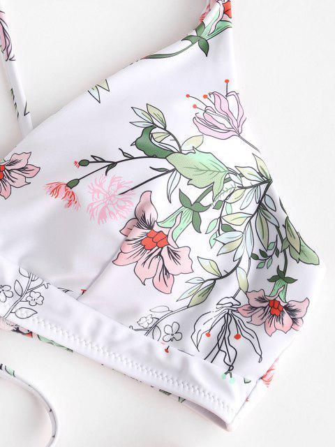 women ZAFUL Floral Crisscross High Cut Bikini Swimsuit - LIGHT ORANGE S Mobile