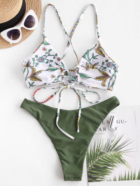 Bikini Floral de Corte Alto con Estampado - Verde claro S Mobile