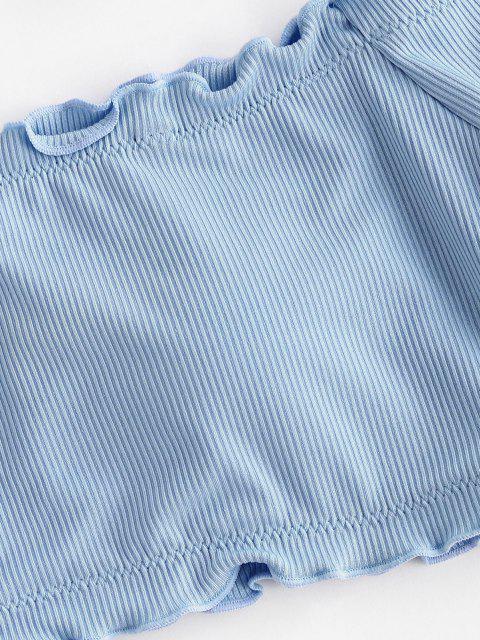 ZAFUL Bikini de Tres Piezas con Hombros Descubiertos - Azul claro M Mobile