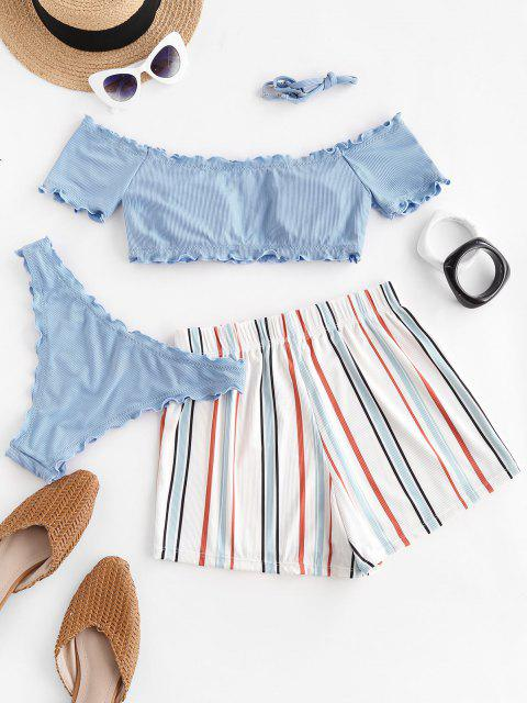 outfits ZAFUL Lettuce-trim Off Shoulder Ribbed Three Piece Bikini Swimsuit - LIGHT BLUE L Mobile