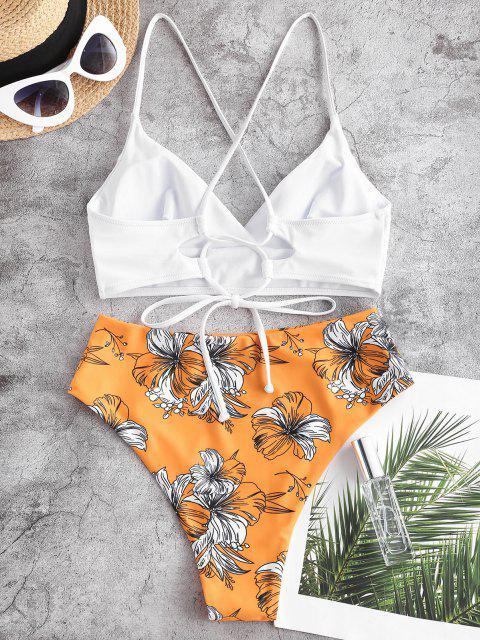 Costume da Bagno Tankini Floreale Incrociato a Vita Alta di ZAFUL - Arancione Scuro XL Mobile