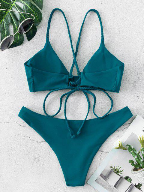 latest ZAFUL Braided Straps Lace Up Low Waisted Bikini Swimsuit - BLUE S Mobile