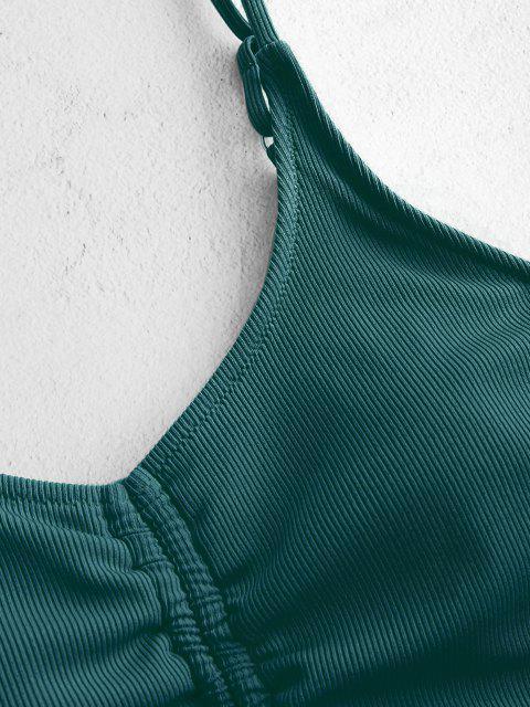 ZAFUL Maillot de Bain Tankini Côtelé à Taille Haute à Lacets - Vert profond S Mobile