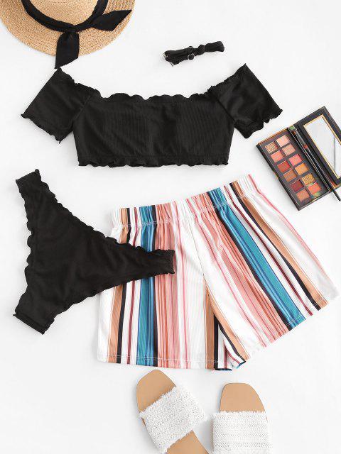 ZAFUL Bikini de Tres Piezas con Hombros Descubiertos - Negro M Mobile