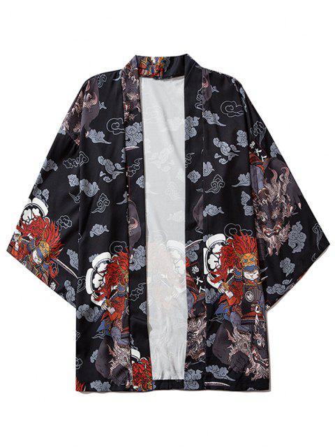 buy Open Front Samurai Cat Graphic Kimono Cardigan - BLACK L Mobile
